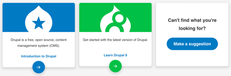 Guide listing for Intro to Drupal and Learn Drupal 8