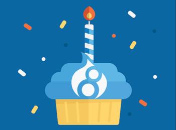 Drupal 8 birthday cupcake