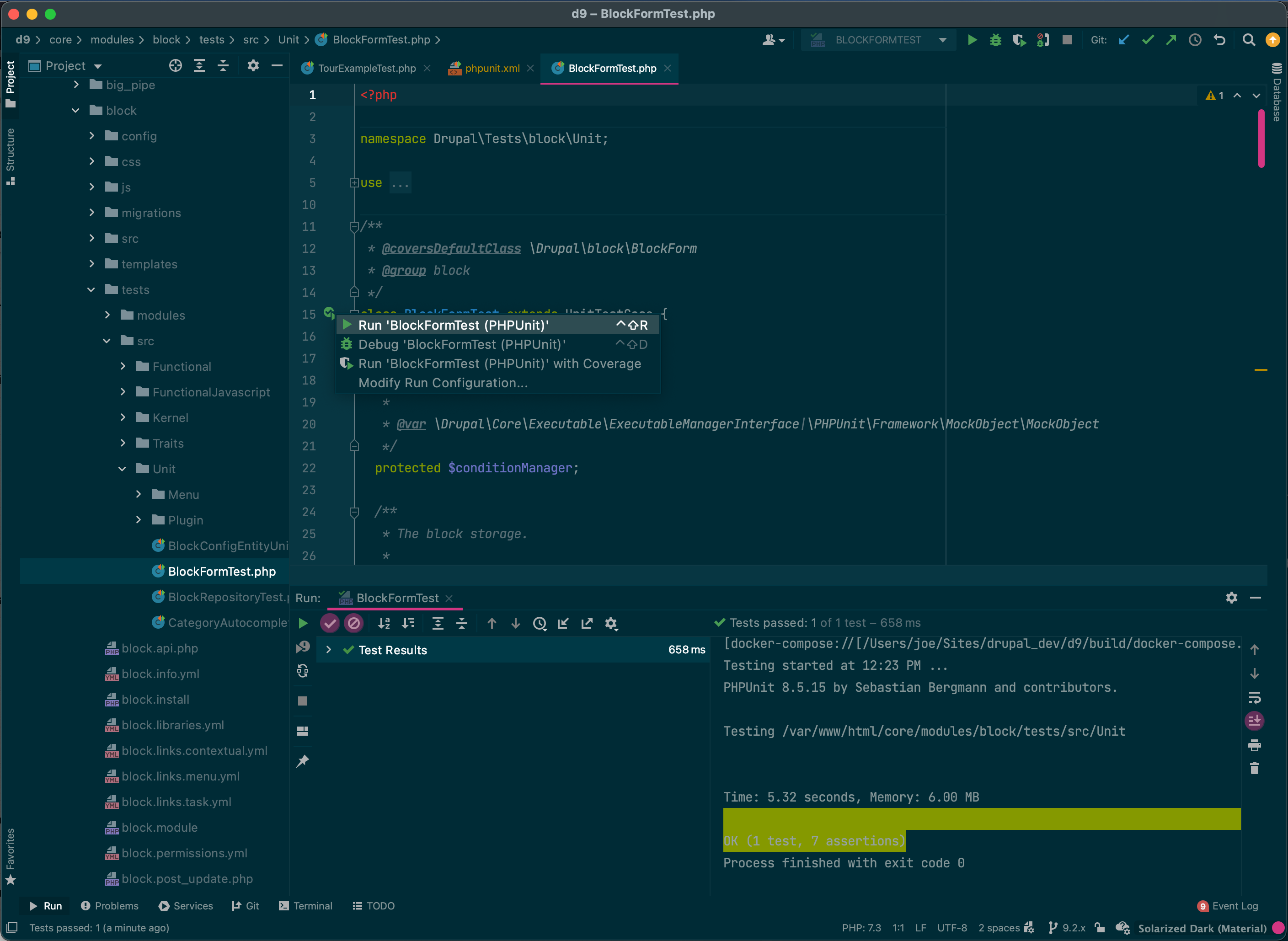 PhpStorm IDE showing results of running a single phpunit test in the UI.