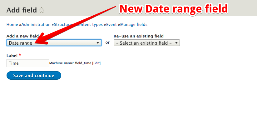 Date range configuration