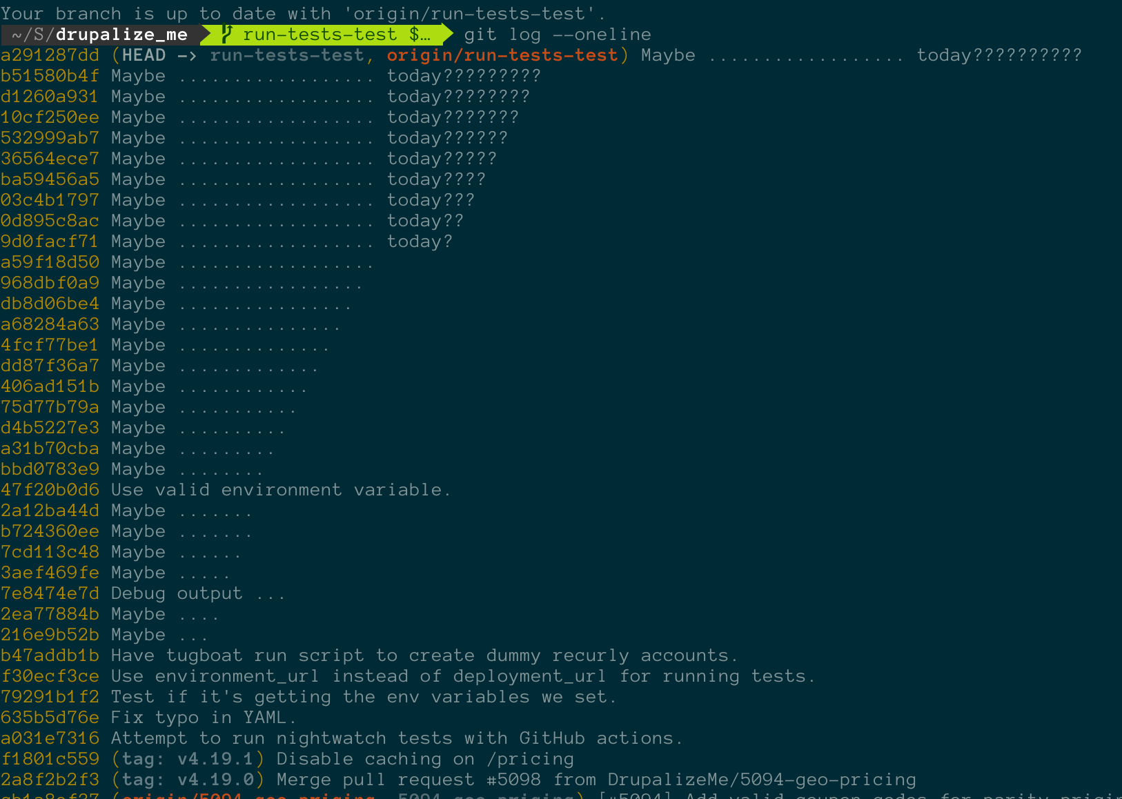 Terminal showing git log --oneline output and a whole list of commit messages that say 'Testing ....'
