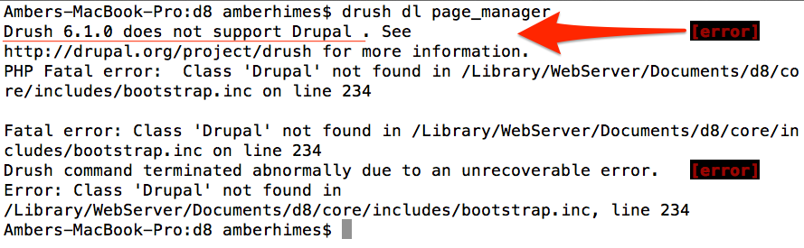 Drush 6.1.0 does not support Drupal 8.