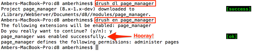 Drush successfully downloads and enables a Drupal 8 contributed module.