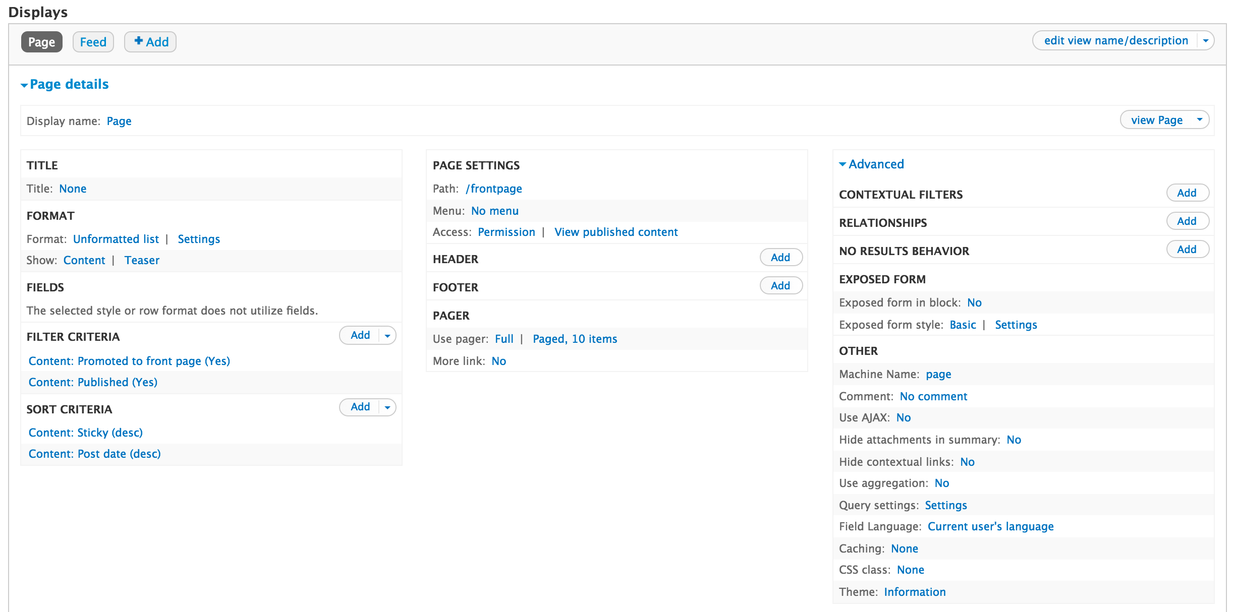 Drupal 7 Views interface