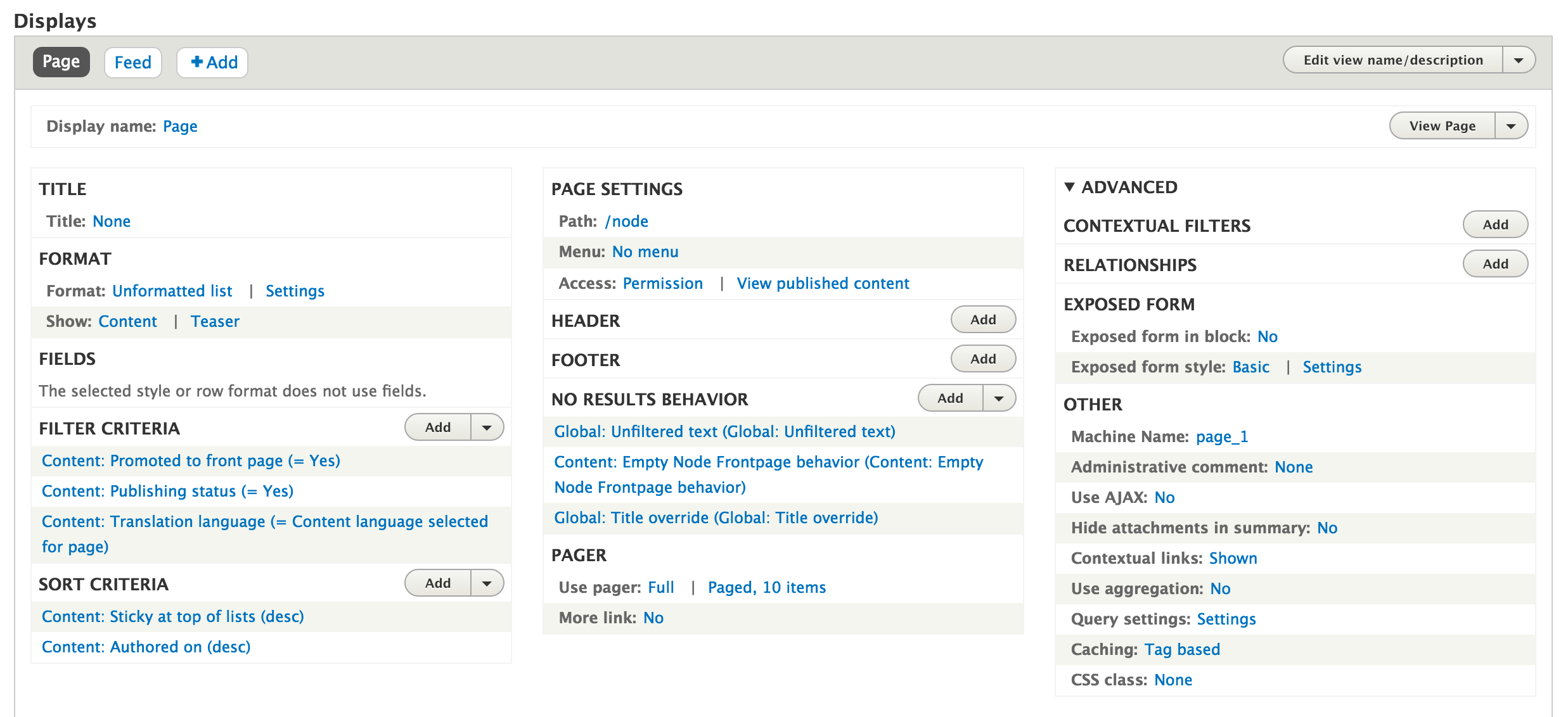 Drupal 8 Views interface