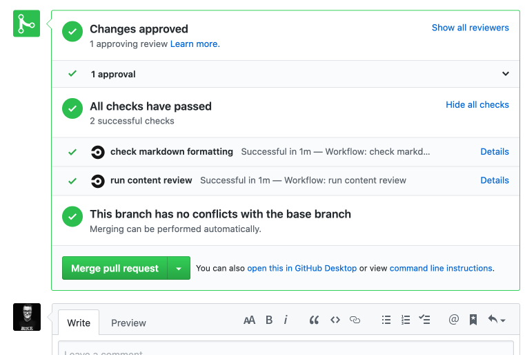 Screenshot of CircleCI integration in GitHub