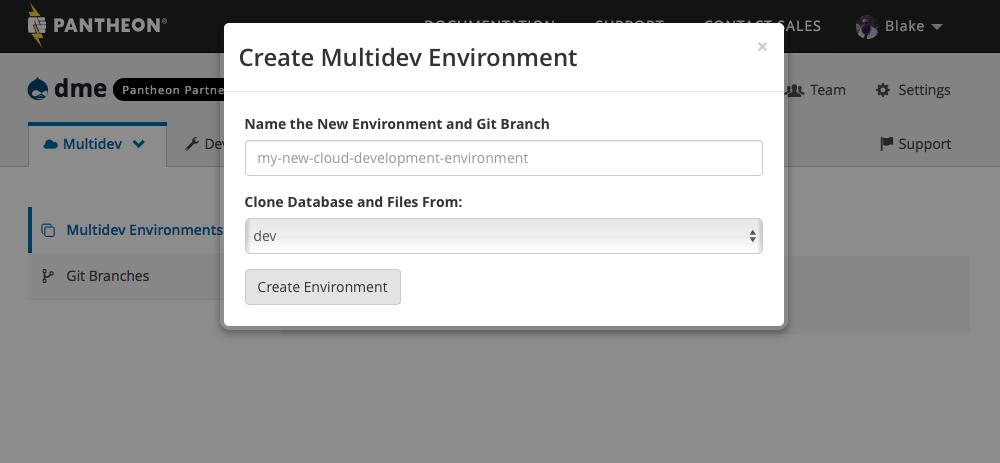 Pantheon create Multidev environment