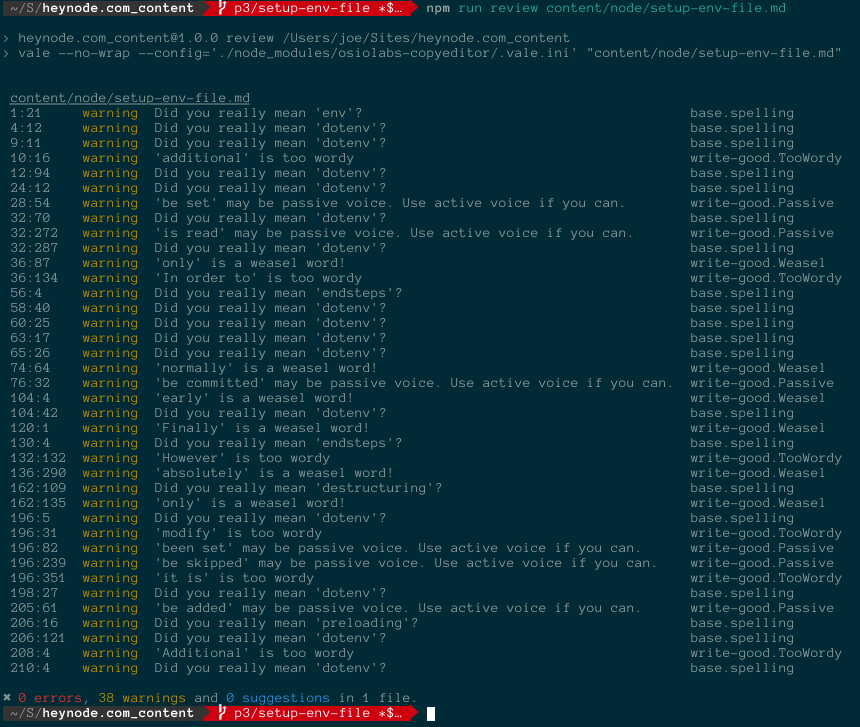Output from running our review linting tool in a CLI. Shows examples of various errors and warnings.