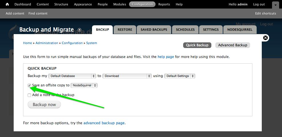 Backup configuration - Step 6