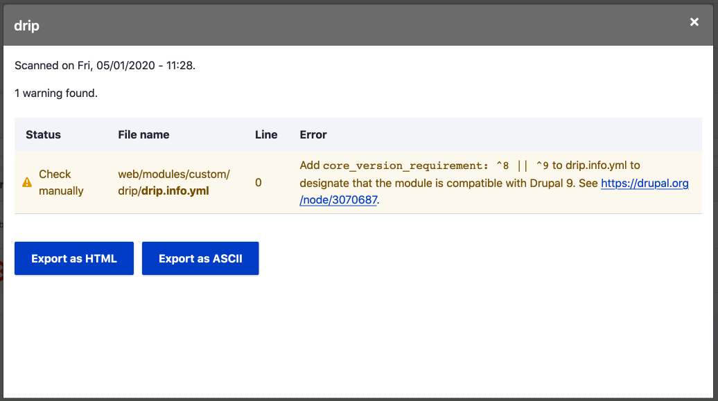 Screenshot of detailed report for Drip module showing a single warning about missing code and a link pointing to where you can find more information.