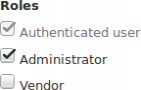 Roles section of user edit page