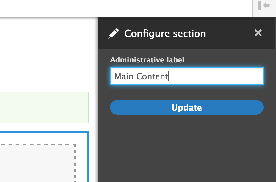 Screenshot of administrative label configuration section