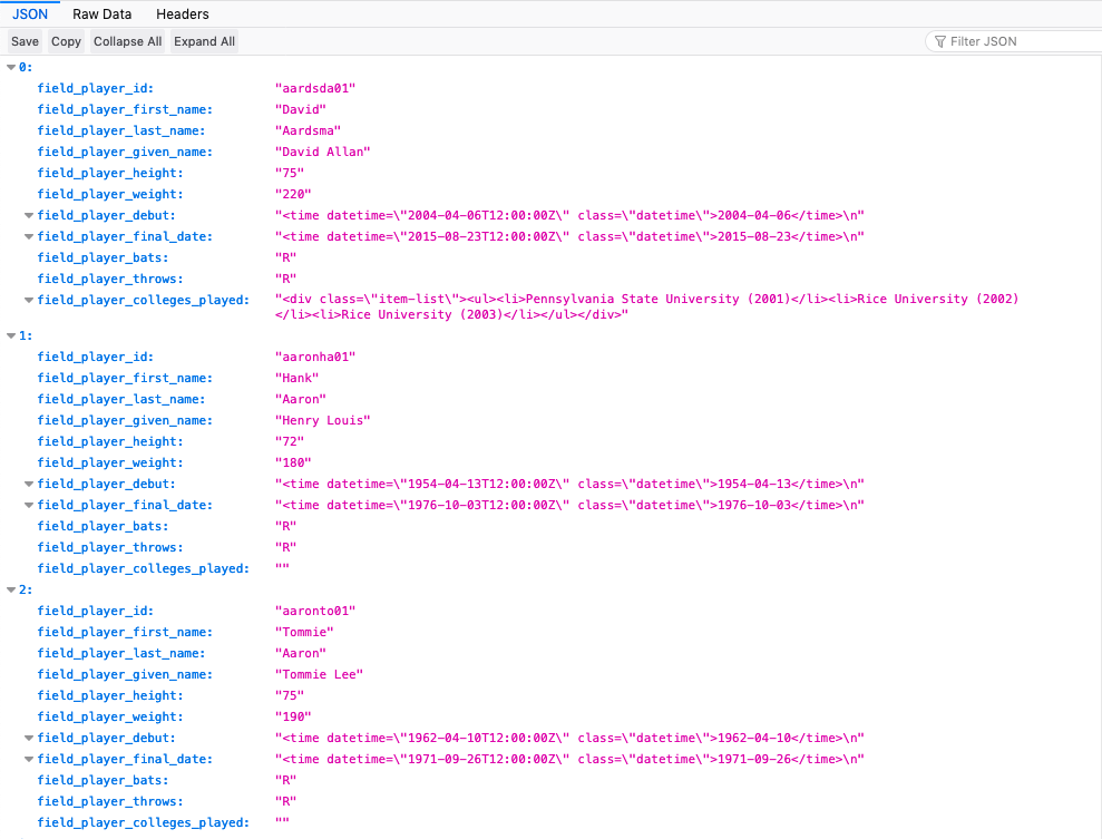 Screenshot of pretty JSON output for our new REST export Display using browser extension