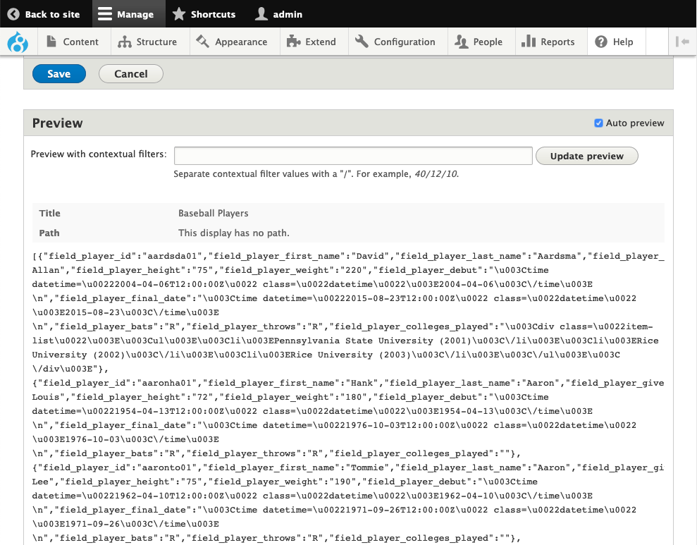 Screenshot of preview of our new display showing JSON data