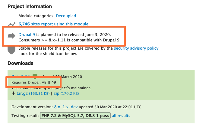 Screenshot of project info data from the Consumers project page with info about Drupal 9 highlighted