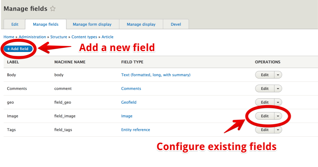 Article field configuration settings