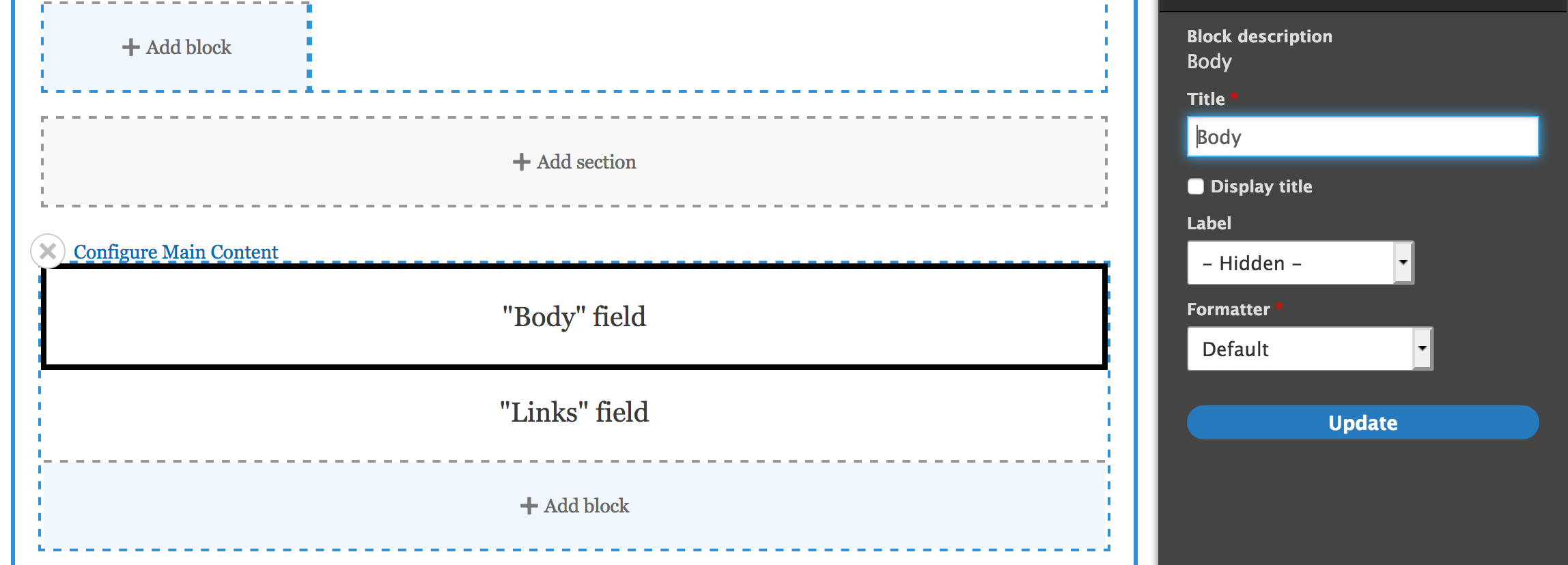 Screenshot of Layout Builder body field options