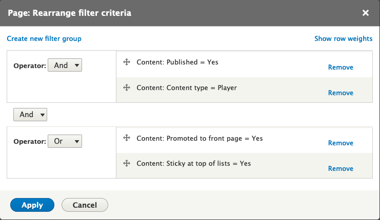Screenshot of filter criteria arrangement options with some filters grouped together as an or group