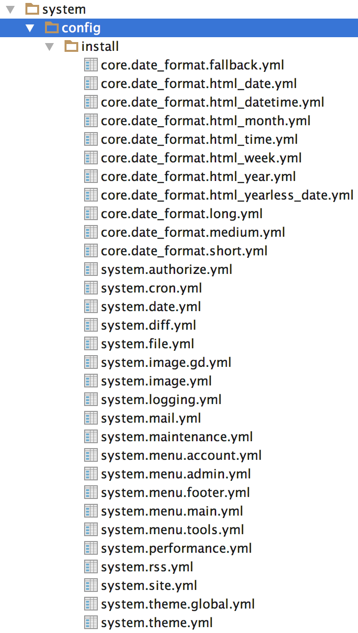System module provides many configuration files that store default values.