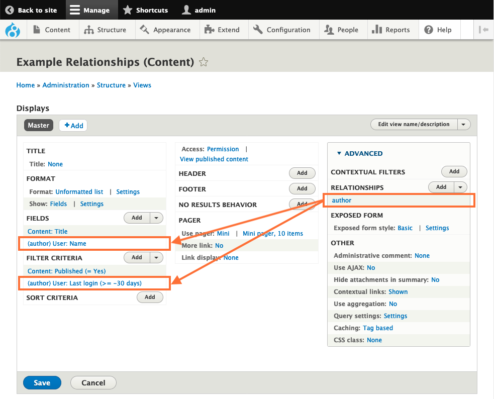 Screenshot of Views UI pointing author relationship to field and filter using that relationship