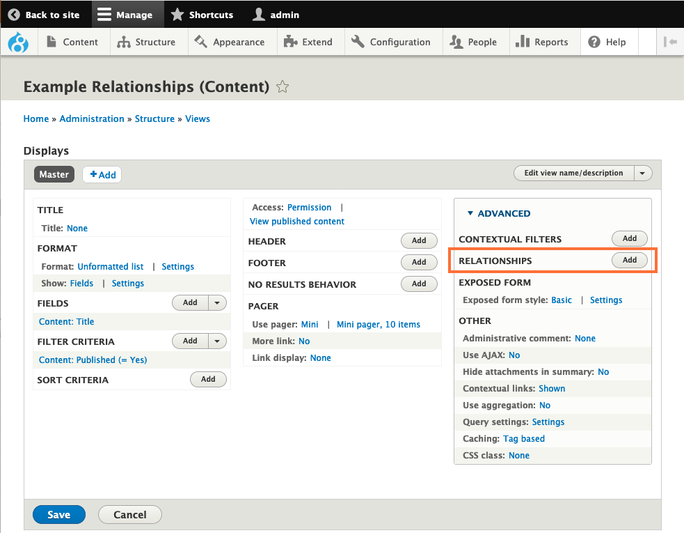 Screenshot of Views UI with Relationships section highlighted