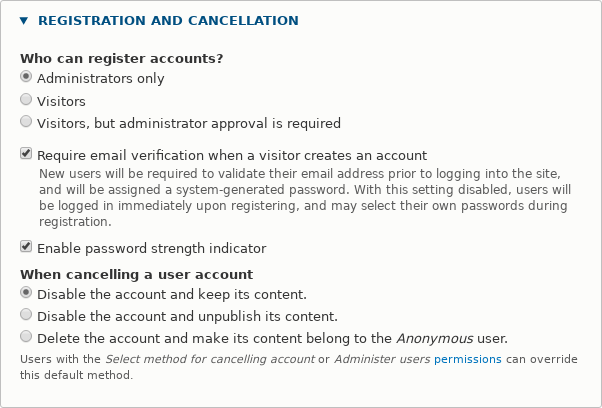 Account registration only by admin