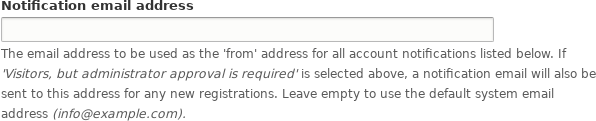 Notification email from address