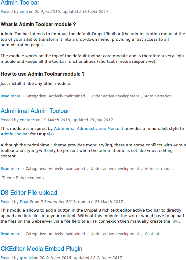 Module search results page on Drupal.org