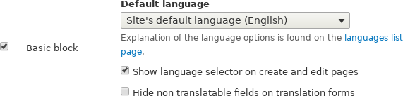 Default language and translatability for content types