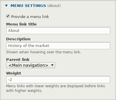 Creating a menu link from within the content edit form