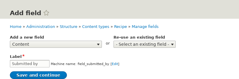 Adding a reference field to a content type