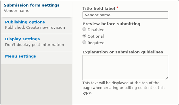 Submission form settings