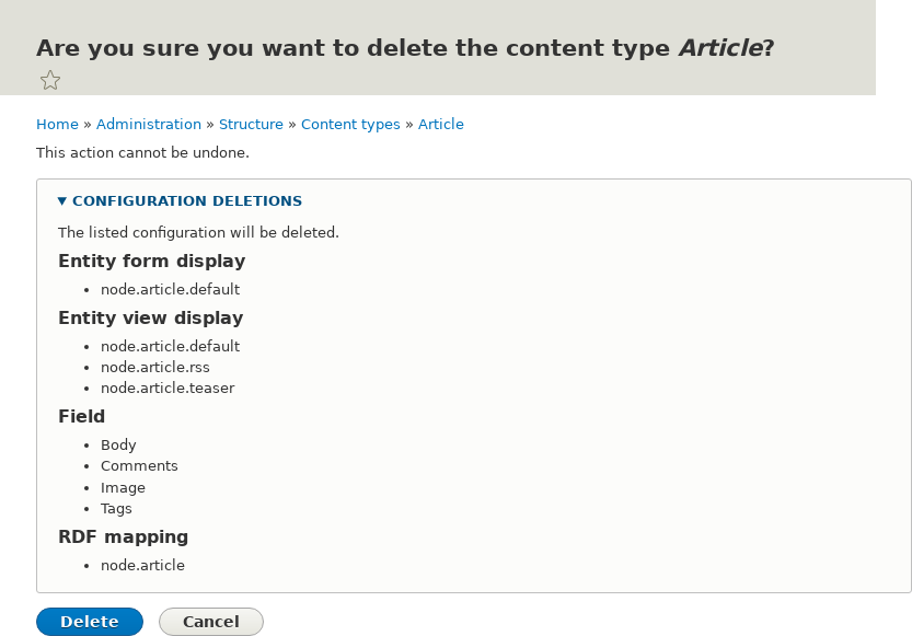 Article delete confirmation page