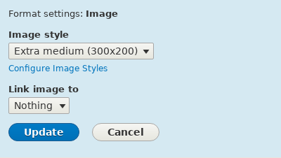Change field formatter settings of image field
