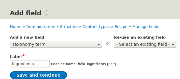 Add Ingredients field to Content type Recipe