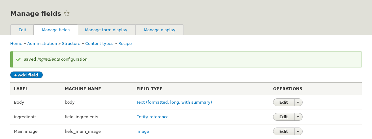 Manage fields page for Recipe content type