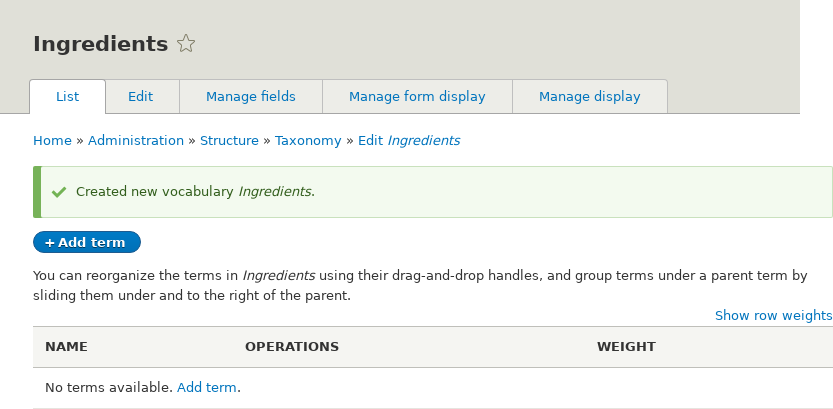 Ingredients taxonomy term listing