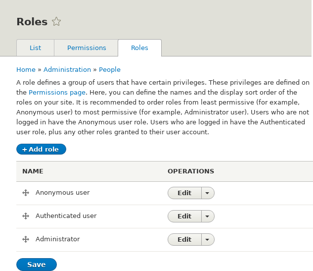 Roles page